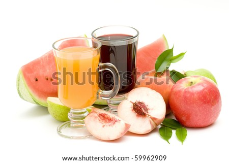 fruit juice and some fresh fruits