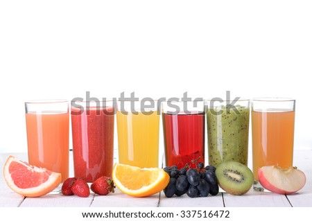 Fruit juice ( grape , strawberries , orange , kiwi , grapefruit , apple )  Isolated on white background. - stock photo