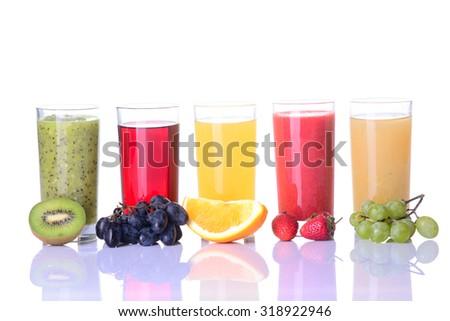 Fruit juice ( grape , strawberries , orange , kiwi )  Isolated on white background. - stock photo