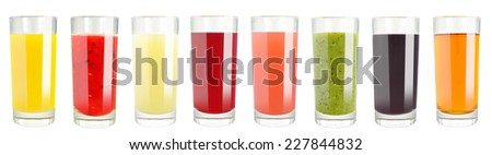 fruit juice in glass on white background  - stock photo