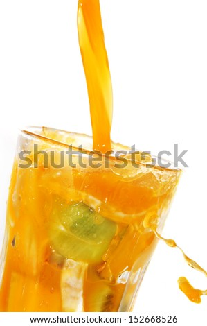 fruit juice splashing on a glass on a white background