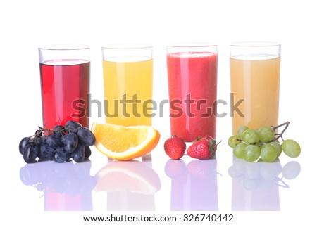 Fruit juice ( strawberries , orange , grape  )  Isolated on white background. - stock photo