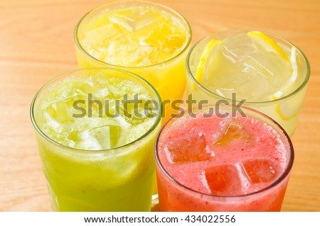 fruit juices(watermelon, kiwi, orange, lemon)