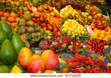 Fruit market  Fresh fruits and vegetables on the market - stock photo