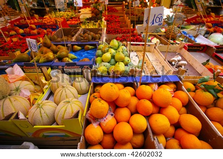 Fruit market Fresh healthy  fruits and vegetables on the market - stock photo