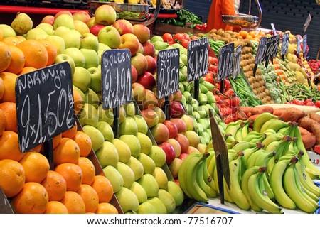 Fruit market in Barcelona, Spain - stock photo