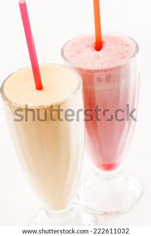 fruit milk cocktails - stock photo