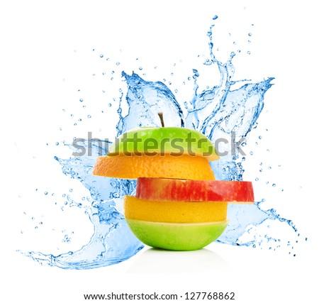 Fruit mix in water splash, isolated on white background - stock photo