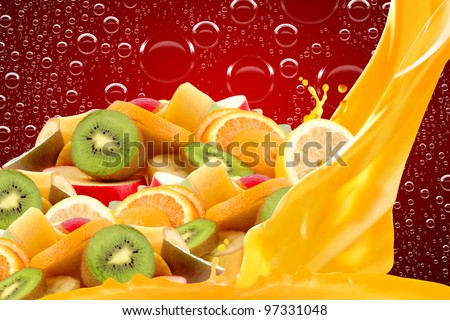 Fruit mix on red background