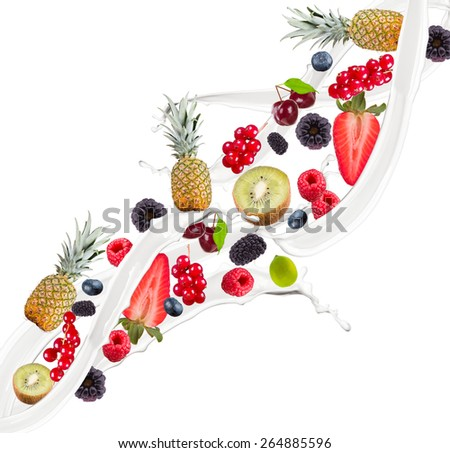Fruit mix, pineapple, kiwi, currant, blackberry, blueberry, raspberry, cherry in milk splash, isolated on white background
