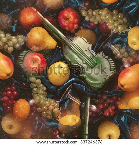 fruit mix. summer fruit and a glass on a blue background. Fruit bright wallpaper