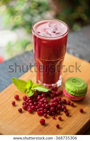 fruit non-alcoholic drink with cranberries - stock photo