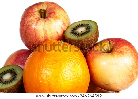 fruit orange healthy apple kiwi citrus - stock photo