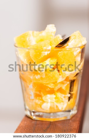 Fruit orange salad in glass