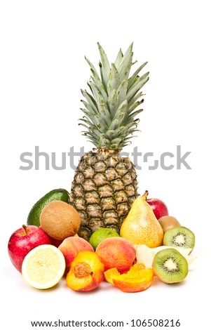 fruit - pineapple, apple, pear, peach, kiwi, lemon, avocado - stock photo