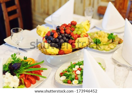 fruit plate on festive table