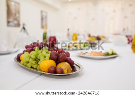 fruit platter on a banquet table - stock photo