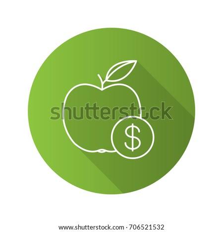 Fruit Price Flat Linear Long Shadow Stock Illustration 706521532
