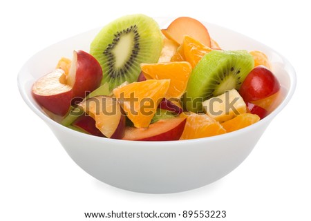 Fruit salad in the bowl - stock photo