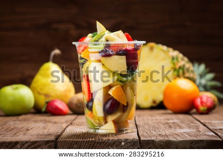 Fruit salad to go - stock photo