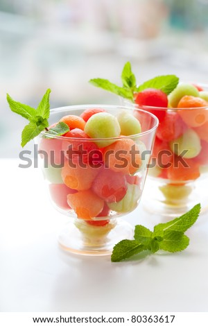 Fruit salad with melon and watermelon balls in glass bowl - stock photo