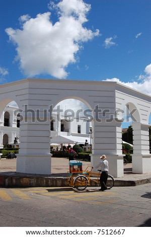 Fruit Seller in front of government building in Chiapas, Mexico - stock photo