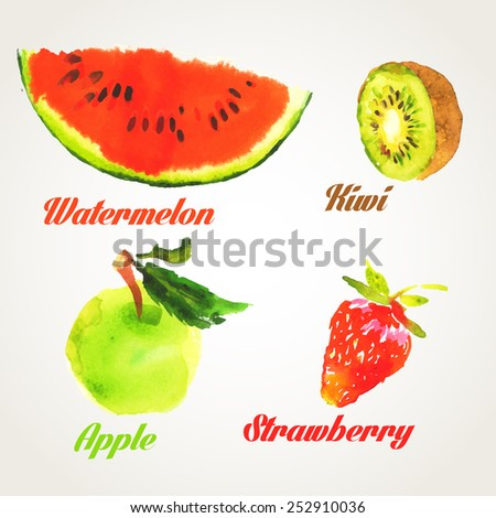 Fruit set drawn watercolor blots and stains with a spray :  watermelon ,kiwi ,apple ,strawberry - stock photo