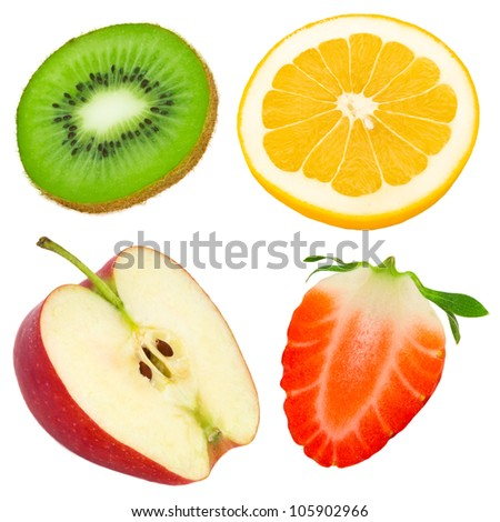 Fruit slices isolated on white - stock photo