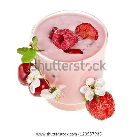 Fruit Smoothie - Fresh Berries with Yogurt isolated on white background