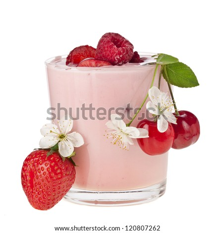 Fruit Smoothie - Fresh Berries with Yogurt isolated on white background - stock photo