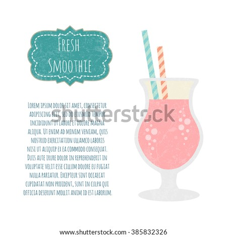 Fruit smoothie. Healthy life concept. Fresh juice made in flat style. Organic raw shake.  - stock photo