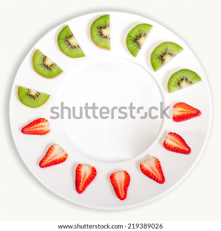 fruit Strawberry Kiwi - stock photo