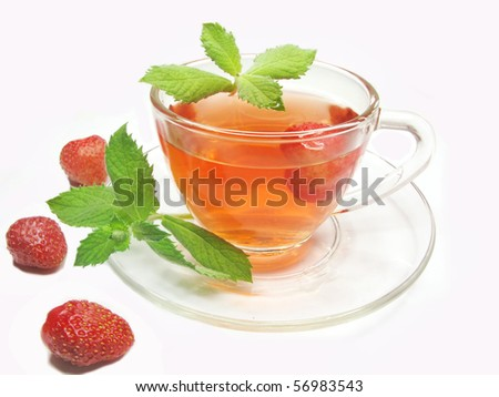 fruit strawberry tea with fresh mint - stock photo