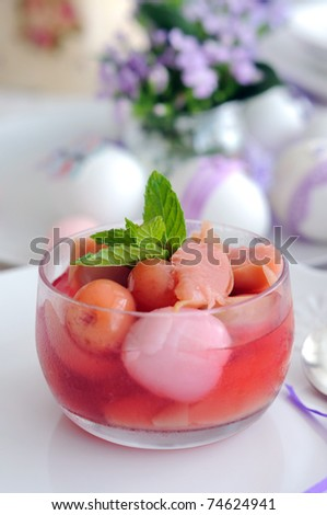 Fruit summer compote with lychee - stock photo