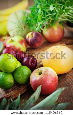 Fruit variety on wood. Tropical exotic food concept. - stock photo
