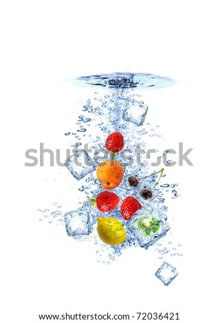 Fruit water splash with ice cubes isolated - stock photo