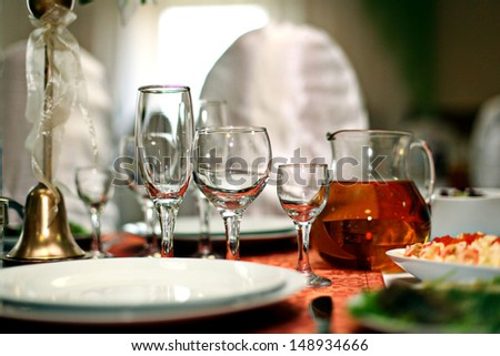 Fruit wine glasses in a restaurant table setting