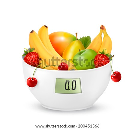 Fruit with in a digital weight scale. Diet concept. Raster version - stock photo