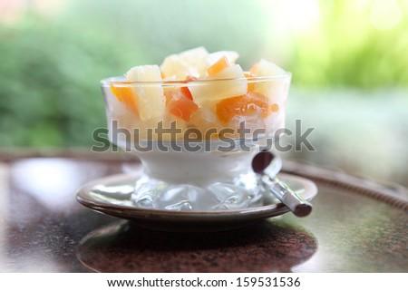 Fruit with vanilla ice cream  - stock photo