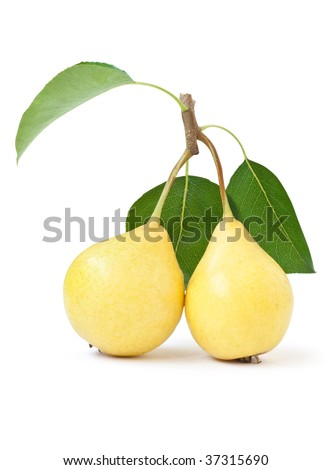 fruit. yellow pears with green leaf isolated on white background
