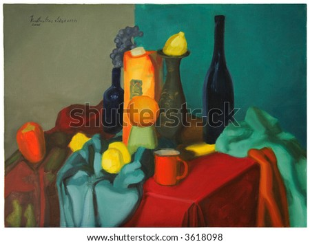 fruits and bottles still life oil on canvas painting by Constantine Vishnevsky - stock photo