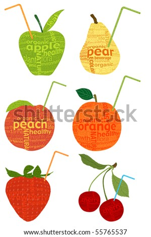 fruits and drinking straw shape from letter