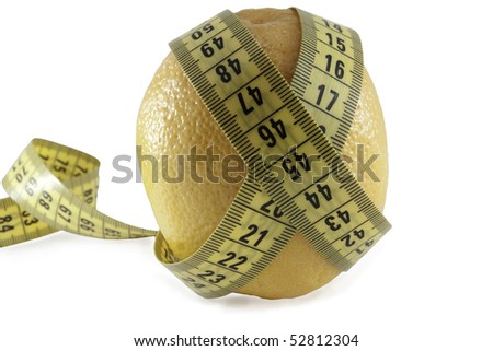 Fruits and measuring tape. Diet concept illustration