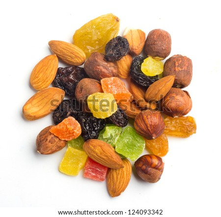 fruits and nuts on white top view - stock photo