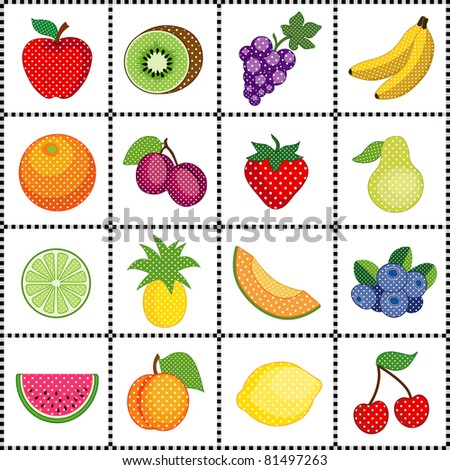 Fruits and Polka Dots, Gingham Check Frame. 16 fresh fruits: apple, kiwi, grapes, banana, orange, plums, strawberry, pear, lime, pineapple, cantaloupe, blueberries, watermelon, peach, lemon, cherry.