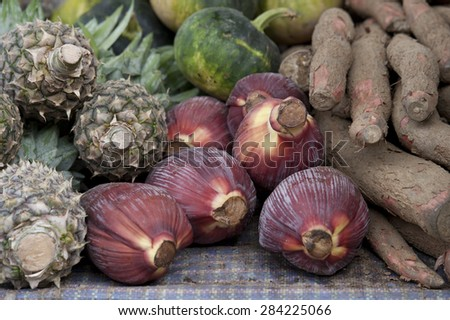 Fruits and vegetable at a market stall, Khuruthang, Punakha District, Bhutan - stock photo