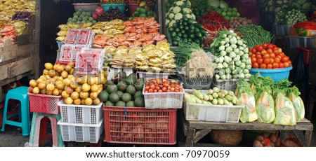 Fruits and vegetable at the asian market (Bali, Indonesia). - stock photo