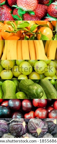 Fruits and vegetable rainbow made of summer and spring harvest - stock photo