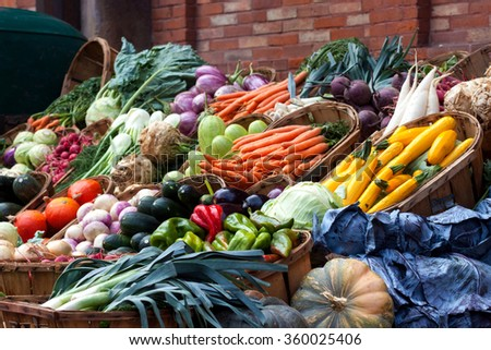 Fruits and vegetables at a market in France - stock photo