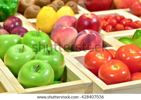 Fruits and vegetables at super market for sale